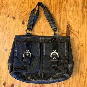 Coach black leather and print tote